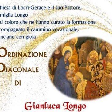 Ordinazione diaconale di Gianluca Longo: 9 gennaio ore 17:00
